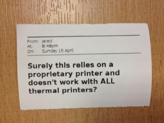 Surely this relies on a proprietary printer and doesn't work with ALL thermal printers?