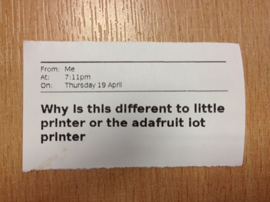 Why is this different to little printer or the adafruit iot printer
